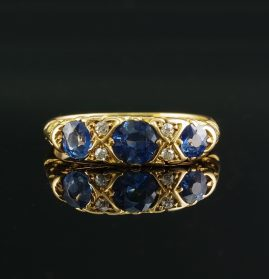 AUTHENTIC EDWARDIAN TRIPLE NATURAL SAPPHIRE & DIAMOND RING!