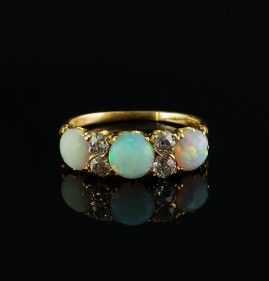 AUTHENTIC VICTORIAN OPAL TRILOGY .80 CT OLD MINE DIAMOND RARE RING!