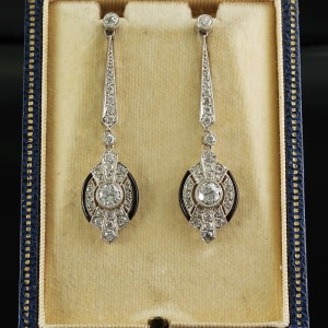 AUTHENTIC ART DECO 3.0 CT DIAMOND ONYX ALL PLATINUM RARE DROP EARRINGS!