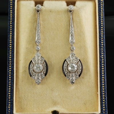 AUTHENTIC ART DECO 3.0 CT DIAMOND ONYX ALL PLATINUM RARE DROP EARRINGS!