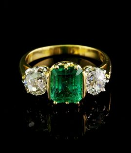 AUTHENTIC VICTORIAN 2.90 CT COLOMBIAN EMERALD 1.80 CT OLD MINE DIAMONDS RARE HIGH QUALITY RING!
