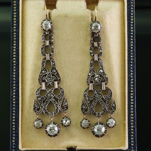 AUTHENTIC GEORGIAN 4.50 CT DIAMOND LONG CHANDELIER EARRINGS 1800 CA – STUNNING!