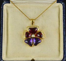 OUTSTANDING RUBELLITE AMETHYST DIAMOND PRECIOUS LARGE VINTAGE FLOWER PENDANT