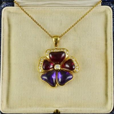 OUTSTANDING RUBELLITE AMETHYST DIAMOND PRECIOUS LARGE VINTAGE FLOWER PENDANT!