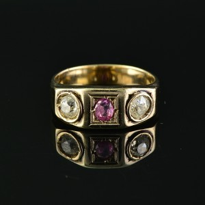 GLORIOUS VICTORIAN NATURAL RUBY & OLD CUT DIAMOND ROSE GOLD TRILOGY RING