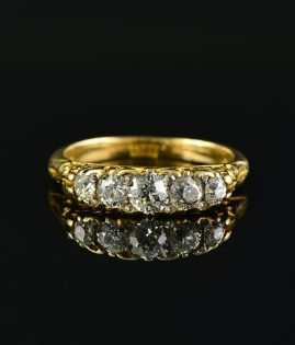 DELIGHTFUL GENUINE VICTORIAN 1.05 CT PLUS OLD CUT DIAMOND FIVE STONE RING!
