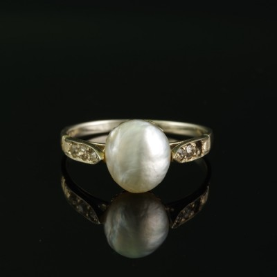 AUTHENTIC EDWARDIAN LARGE NATURAL BASRA PEARL & DIAMOND SOLITAIRE   RING 1900 CA!