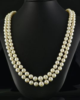 FINE VINTAGE DOUBLE STRAND SALTWATER PEARL 11.50 CT SAPPHIRE & DIAMOND NECKLACE!