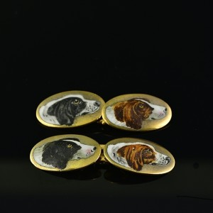 AUTHENTIC EDWARDIAN GILDED SILVER DOUBLE SIDED DOG ENAMELLED RARE GENTS CUFF LINKS
