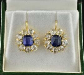 AUTHENTIC VICTORIAN 2.90 CT NAT SAPPHIRES 3.90 CT OLD DIAMOND DROP EARRINGS!
