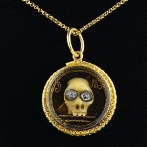 GEORGIAN ENGLISH 22 KT GOLD STUART CRYSTAL  MEMENTO MORI SKULL DIAMOND PENDANT!