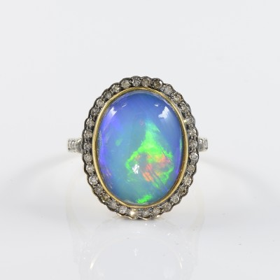 AUTHENTIC EDWARDIAN 8.52 CT SOLID BLACK OPAL  & DIAMOND RARE 1900 RING!