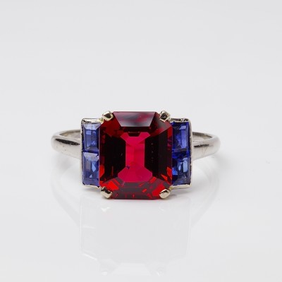 Authentic Art Deco Unheated 3,70 Ct Red Spinel and Sapphire Platinum 20's ring