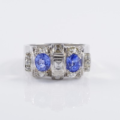 DISTINCTIVE ART DECO 1.60 CT NATURAL SAPPHIRE 1.40 CT OLD CUT DIAMOND RARE RING!