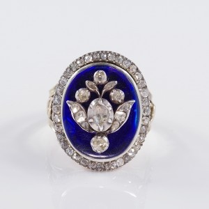 A RARE 1790  GEORGIAN ROYAL BLUE BRISTOL GLASS & DIAMOND FLORAL RING!