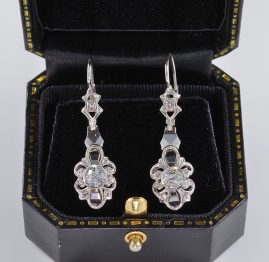 AUTHENTIC EARLY DECO 1.0 FULL CARAT DIAMOND DISTINCTIVE DROP EARRINGS 1910 CA!