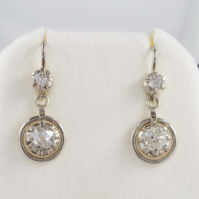 AUTHENTIC LATE ART DECO 1.64 CT OLD MINE DIAMOND TARGET EAR DROPS!