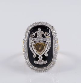 MAGNIFICENT ART DECO BLACK ONYX & DIAMOND RARE URN RING