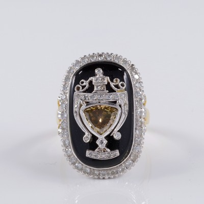 MAGNIFICENT ART DECO BLACK ONYX & DIAMOND RARE URN RING!