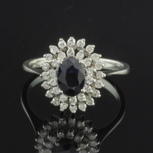 CHARMING VINTAGE 1.20 CT NATURAL BLUE SAPPHIRE .60 CT OLD CUT DIAMOND  RING FROM 50'S!