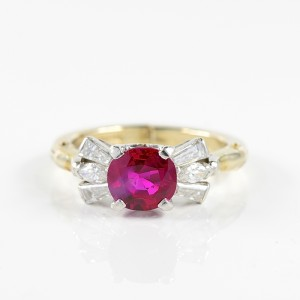 REGAL CERTIFIED 1.62 CT NATURAL NO HEAT BURMA RUBY & DIAMOND FABULOUS VINTAGE RING!
