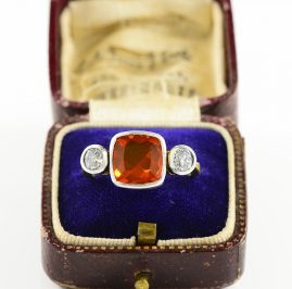 AUTHENTIC EDWARDIAN FIRE OPAL & OLD DIAMOND TRILOGY RING!