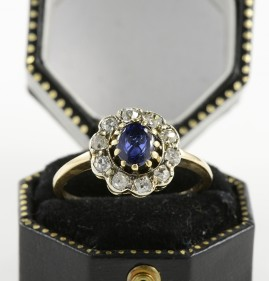 DELIGHTFUL AUTHENTIC VICTORIAN 1.10 CT NATURAL SAPPHIRE DIAMOND ROMANTIC RING