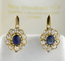 AUTHENTIC VICTORIAN 2.20 CT NATURAL SAPPHIRE 1.10 CT G VVS OLD MINE CUT DIAMOND CLUSTER EARRINGS