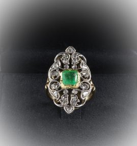LATE EDWARDIAN 1.30 CT EMERALD .55 ROSE CUT DIAMOND FABULOUS PANEL RING!
