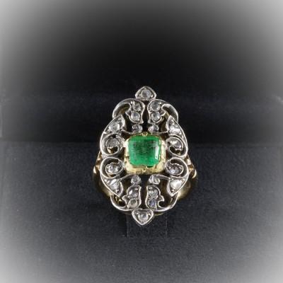 LATE EDWARDIAN 1.30 CT EMERALD .55 ROSE CUT DIAMOND FABULOUS PANEL RING!