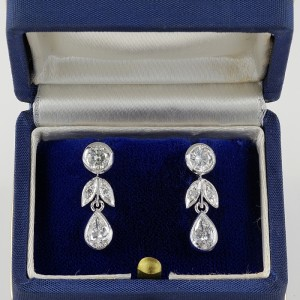 STUNNING DAZZLING DIAMOND 1.80 Ct G VVS VINTAGE DIAMOND EARRINGS!