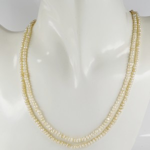 VICTORIAN 16.3 GRAMS DOUBLE STRAND OF NATURAL BASRA PEARL NECKLACE 1880 CA!