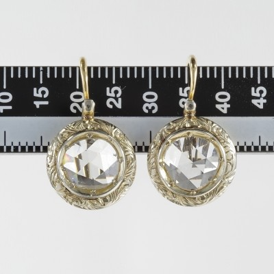 RARE VICTORIAN 3.40 CT G VS DUTCH ROSE CUT DIAMOND TARGET SOLITAIRE EARRINGS!