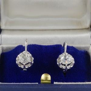 GENUINE ART DECO 1.60 CT OLD MINE DIAMOND SOLITAIRE RARE EARRINGS -WOW!