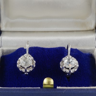 GENUINE ART DECO 1.60 CT OLD MINE DIAMOND SOLITAIRE RARE EARRINGS -WOW!