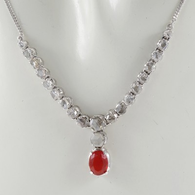 ART DECO GLOWING FIRE OPAL & ROSE CUT DIAMOND RIVIERE NECKLACE!