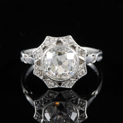 AUTHENTIC EDWARDIAN 2.30 CT  DIAMOND SOLIATAIRE RARE PLATINUM RING!