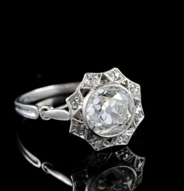 AUTHENTIC EDWARDIAN 2.30 CT DIAMOND SOLITAIRE RARE PLATINUM RING