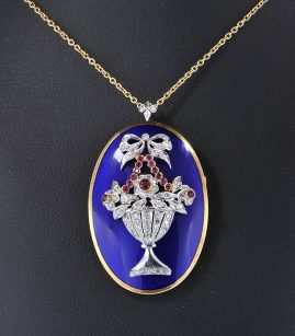 AUTHENTIC ART DECO LARGE COBALT ENAMEL DIAMOND RUBY RARE GIARDINETTI PENDANT BROOCH