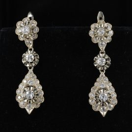 AUTHENTIC ART DECO FOUR CARAT DIAMOND SPECTACULAR LONG DROP PENDANT EARRINGS