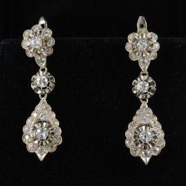 AUTHENTIC ART DECO FOUR CARAT DIAMOND SPECTACULAR LONG DROP PENDANT EARRINGS