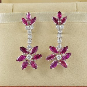 SPECTACULAR VINTAGE 7.20 CT REAL RUBIES 1.0 CT FINEST DIAMONDS LONG DROP EARRINGS –   LUXURY!!!