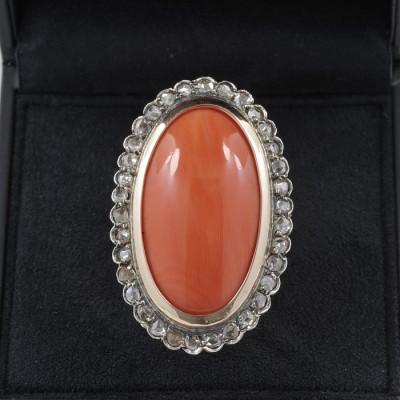 MAGNIFICENT GIGANTIC SALMOND CORAL & DIAMOND ANTIQUE RING 1935 ca!