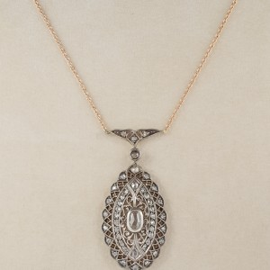 AUTHENTIC EDWARDIAN PENDANT NECK LOADED WITH ROSE CUT DIAMONDS 1900 CA!