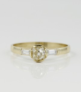 AUTHENTIC ART DECO .75 CT DIAMOND TRILOGY RARE VINTAGE RING!