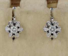 QUALITY F VVS .30 CT DIAMOND VINTAGE FLORET EARRINGS WOW!