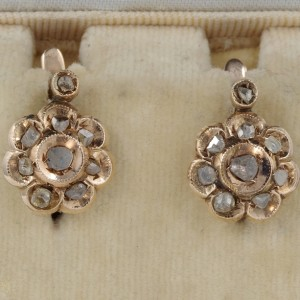 GORGEOUS VICTORIAN .90 CT ROSE CUT DIAMOND DAISY EARRINGS 18 KT ROSE GOLD!
