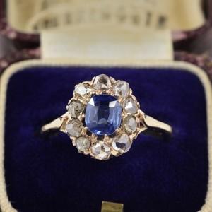 AUTHENTIC VICTORIAN NATURAL NO HEAT CEYLON SAPPHIRE & DIAMOND CLUSTER RING 1890 CA!