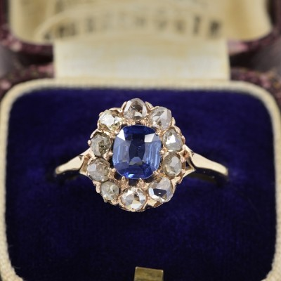 AUTHENTIC VICTORIAN NATURAL NO HEAT CEYLON SAPPHIRE & DIAMOND CLUSTER RING 1890 CA!