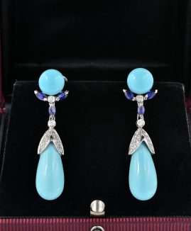 SPECTACULAR NATURAL TURQUOISE TORPEDO DIAMOND SAPPHIRRE EARRINGS 1960!
